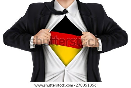 businessman showing German flag underneath his shirt over white background - stock photo