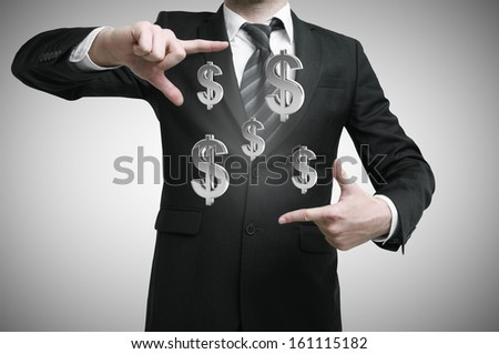 businessman showing hand square with dollars symbol - stock photo