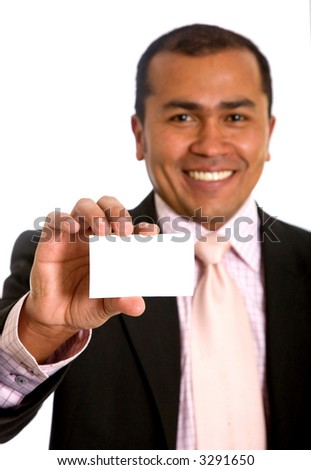 Businessman showing his business card isolated over a white background