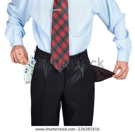 Businessman showing his empty one pocket and euro in the other pocket isolated on white background - stock photo