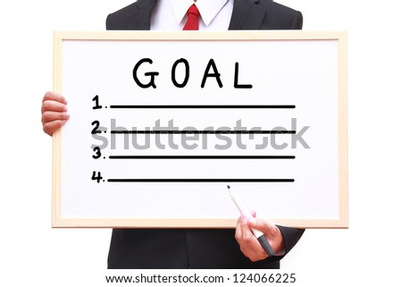 Businessman showing idea on white board with clipping path