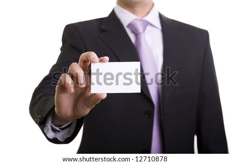 Businessman showing is card (selective and soft focus) - stock photo