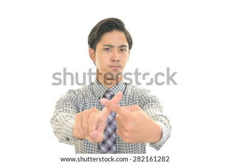 Businessman showing no good sign? - stock photo