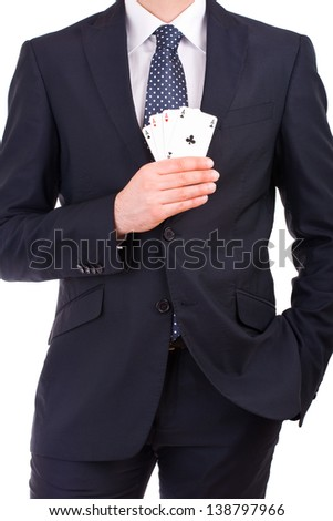 Businessman showing playing cards. - stock photo