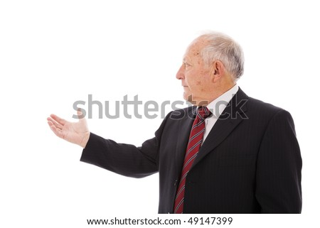 businessman showing something with his hand (isolated on white)