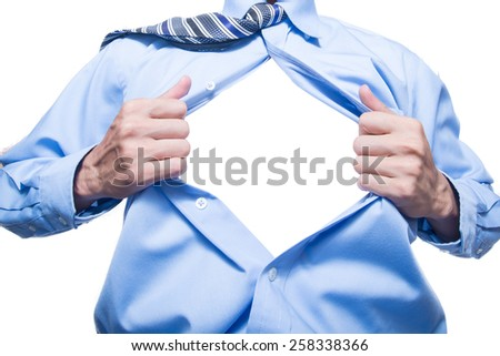 businessman showing space in his shirt - stock photo