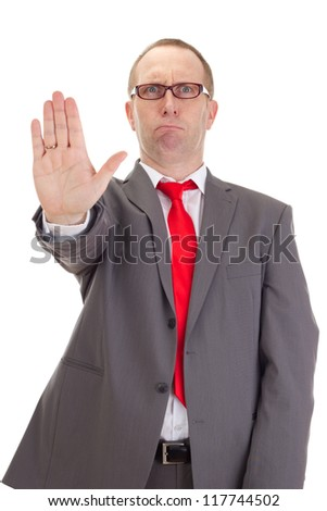 Businessman showing stop - stock photo