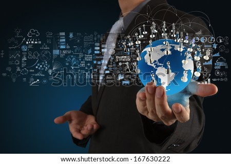 businessman showing the earth 3d and  social network structure as concept