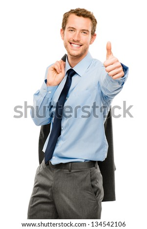 businessman showing thumbs up sign white background - stock photo