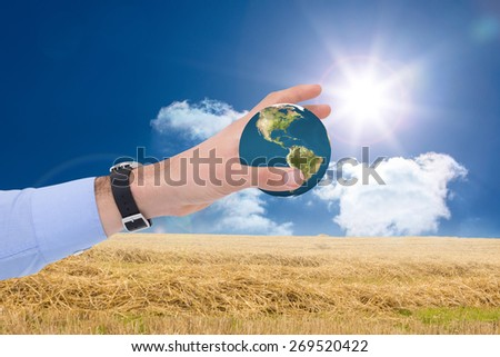 Businessman showing with his hand against sunny brown landscape - stock photo
