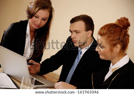 Businessman Showing Young women work in the office. - stock photo