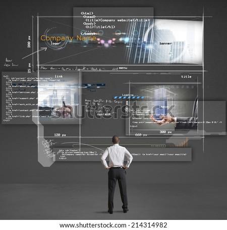 Businessman shows a presentation of a company website - stock photo