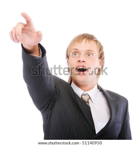 Businessman shows forefinger and is surprised, isolated on white background. - stock photo