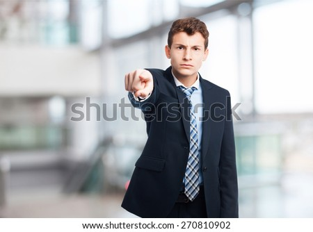 businessman silence gesture. company background - stock photo