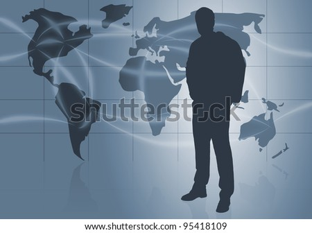 Businessman silhouette in front of world map with flight routes - global business or travel concept - stock photo