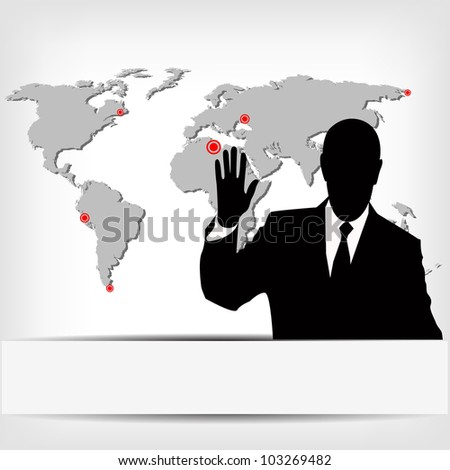 businessman silhouette with world map - jpg version - stock photo