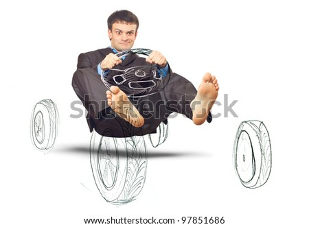 Businessman simulates driving a car. Isolated on white background (with shadow) - stock photo