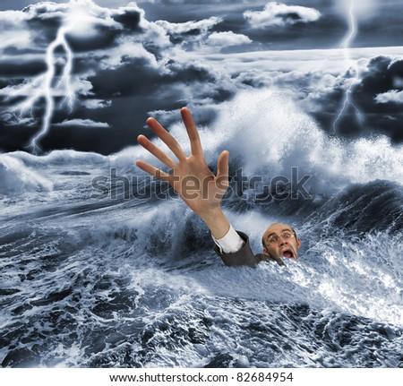Businessman sinking in dark stormy sea with dramatic sky and lightnings - stock photo