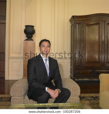 Businessman sitting in waiting area