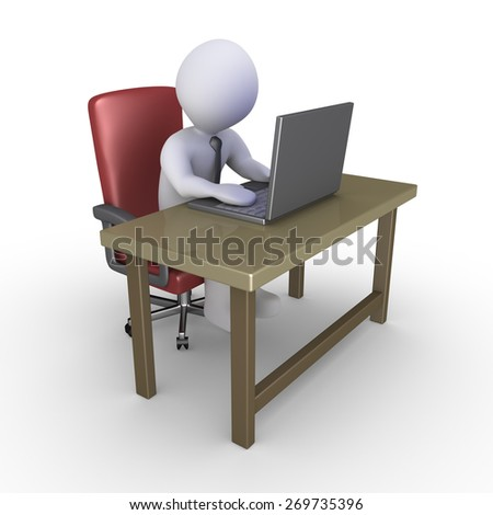 Businessman sitting on a chair behind a desk working with a laptop - stock photo