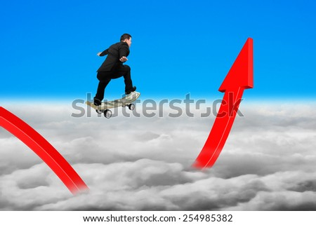 Businessman skateboarding on red growing arrow graph with blue sky cloudscape background - stock photo