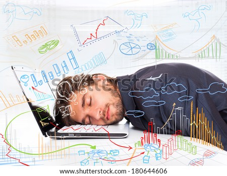 businessman sleep at office desk, new idea concept graph finance chart diagram, business man closed eyes lying head on laptop dream, drawings sketches
