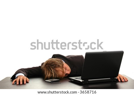 businessman sleeping on computer after hard work day - stock photo