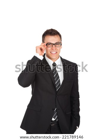 Businessman smile, wear eye glasses business man in black suit isolated over white background - stock photo