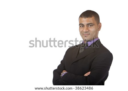 Businessman smiles self confident in camera. Isolated on white background. - stock photo