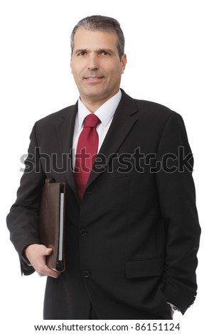 businessman smilling with notebook on white background