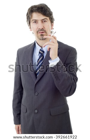 businessman smoking isolated on a white background - stock photo