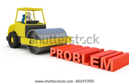 Businessman solving the problem - stock photo