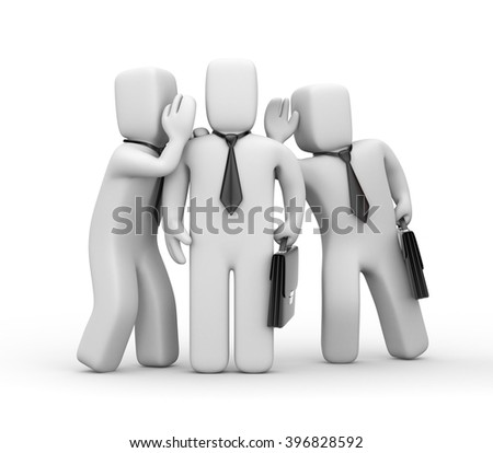 Businessman spying on other business people. 3D illustration - stock photo