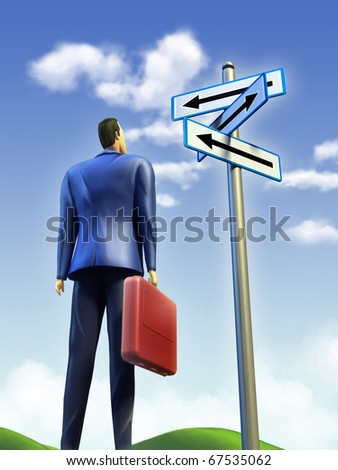 Businessman standing at a crossroad. A signpost points at multiple directions. Digital illustration. - stock photo