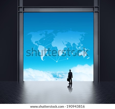 businessman standing at 3d network server room and social network diagram on cloud outside as concept  - stock photo