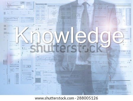 Businessman standing behind transparent board with diagrams and text Knowledge