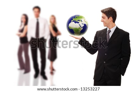 Businessman standing front of his team with confidence - stock photo