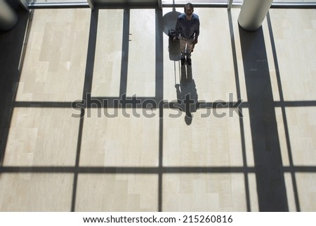 Businessman standing in lobby, holding luggage, casting shadow on floor, rear view, elevated view - stock photo