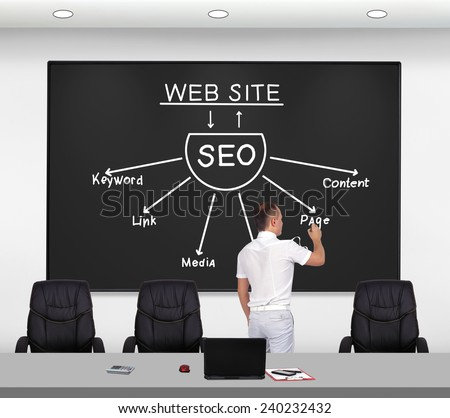 businessman standing in office and drawing seo scheme - stock photo