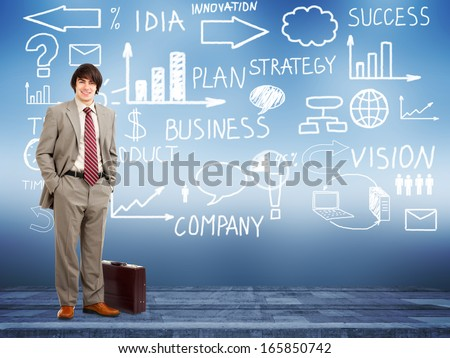 Businessman standing near Innovation plan. Success strategy background. - stock photo