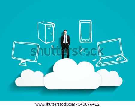businessman standing on cloud with drawing server