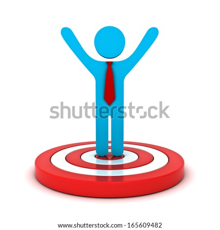 Businessman standing on red target with arms wide open isolated over white background - stock photo