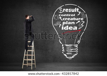 businessman standing on stairs and looking on business concept drawing on wall
