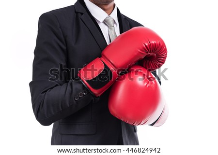 Businessman standing posture with boxing gloves isolated on white background - stock photo