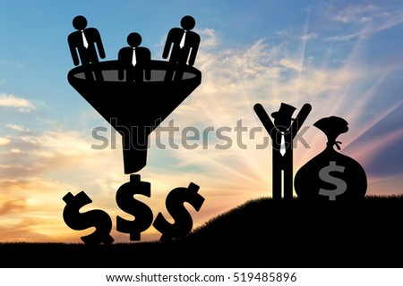 Businessman standing with bag of money and workers fall into funnel sunset. Concept poor rich