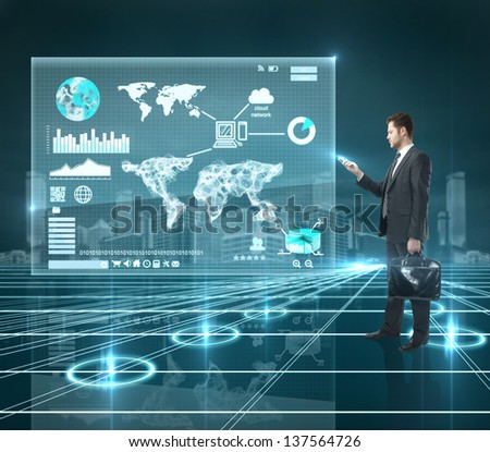 businessman standing with phone and global interface - stock photo