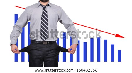 businessman standing with pockets turned inside out, business concept