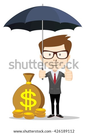 Businessman standing with umbrella and protection money. Isolated on white background. Stock illustration