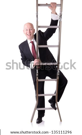 businessman starting on the ladder of success isolated on white