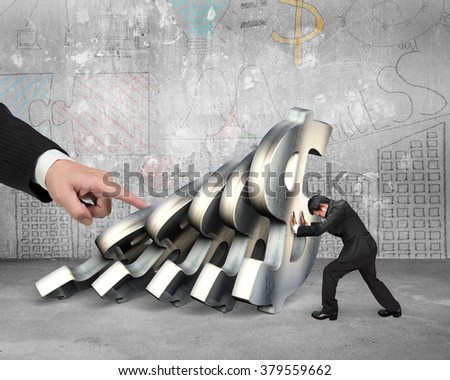 Businessman stopping the falling of dollar currency symbols with big hand pushing, on business doodles wall concrete indoors background. Domino effect and problem solving of concepts - stock photo